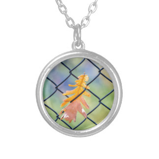 Fall Leaf Caught on a Fence Silver Plated Necklace