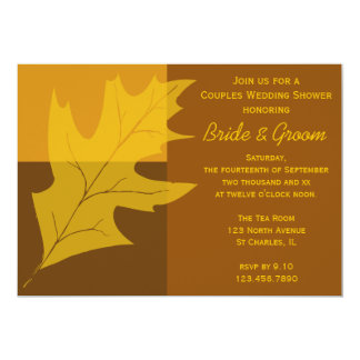 Fall Leaf Color Block Couples Wedding Shower Card