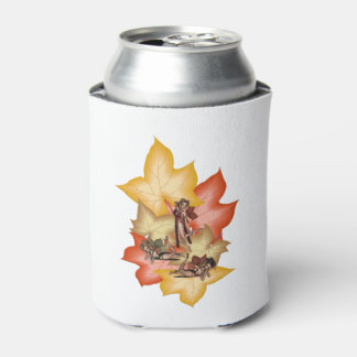 Fall Leaf Fae Triplets Can Cooler