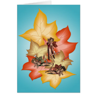 Fall Leaf Fae Triplets Card