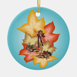 Fall Leaf Fae Triplets Ceramic Ornament