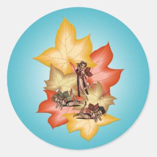 Fall Leaf Fae Triplets Classic Round Sticker