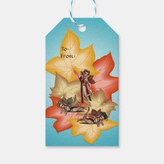 Fall Leaf Fae Triplets Gift Tags