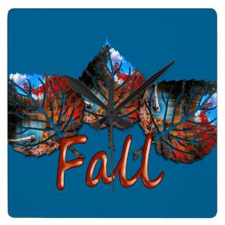 Fall Leaf Image Square Wall Clock