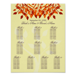Fall Leaves 11 x 14 Seating Chart For Framing Poster