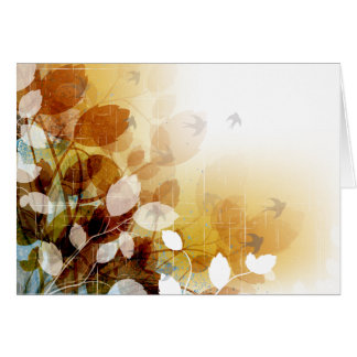 Fall Leaves And Birds In Autumn Blank Note Cards