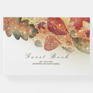 Fall Leaves and Glitter Wedding Guest Book