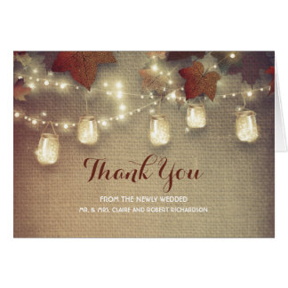 Fall Leaves and Mason Jar Lights Wedding Thank You Card
