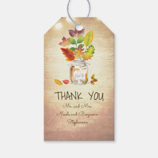 Fall Leaves and Mason Jar Rustic Country Wedding Pack Of Gift Tags