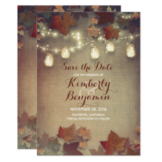 Fall Leaves and Rustic Mason Jars Save the Date Card