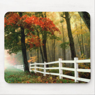 Fall Leaves and Trees White Picket Fence Mouse Pad