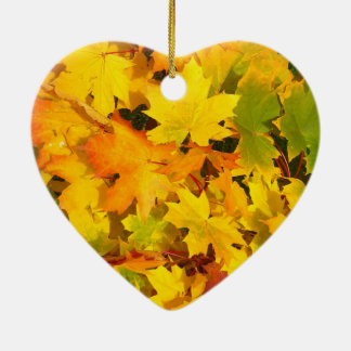 Fall Leaves Autumn Colors Leaf Design Ceramic Ornament