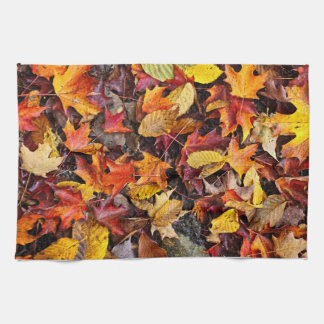 Fall leaves background kitchen towel