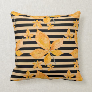 Fall Leaves Black Stripes Throw Pillow