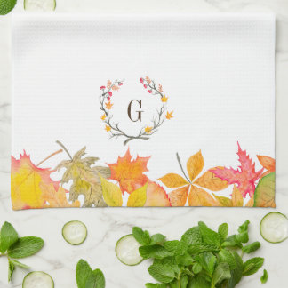 Fall Leaves Branch Wreath Monogram Kitchen Towel