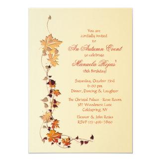 Fall Leaves Corner Invitation