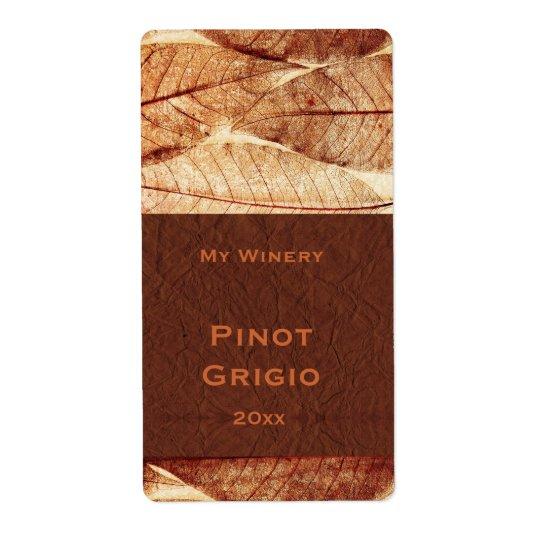 Fall leaves decorative pattern wine label