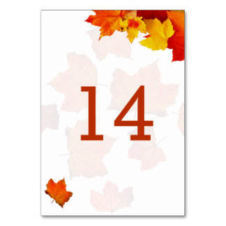 Fall Leaves Double Sided Table Number Cards