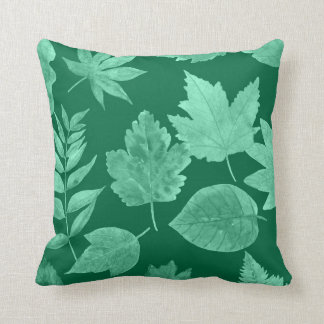 Fall leaves emerald green, custom color available throw pillow