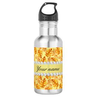 Fall Leaves Faux Gold Foil Bling Diamonds 532 Ml Water Bottle