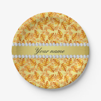 Fall Leaves Faux Gold Foil Bling Diamonds 7 Inch Paper Plate