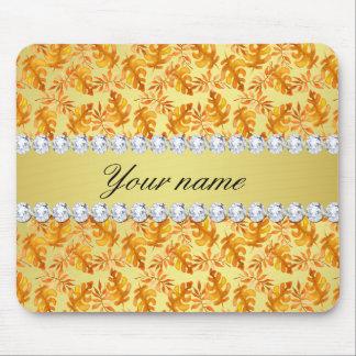 Fall Leaves Faux Gold Foil Bling Diamonds Mouse Pad