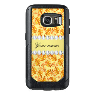 Fall Leaves Faux Gold Foil Bling Diamonds OtterBox Samsung Galaxy S7 Case