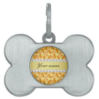Fall Leaves Faux Gold Foil Bling Diamonds Pet Name Tag
