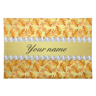 Fall Leaves Faux Gold Foil Bling Diamonds Placemat