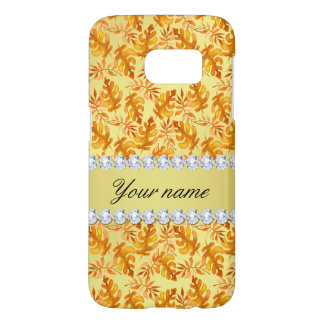 Fall Leaves Faux Gold Foil Bling Diamonds Samsung Galaxy S7 Case