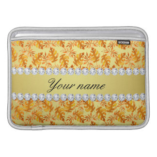 Fall Leaves Faux Gold Foil Bling Diamonds Sleeve For MacBook Air