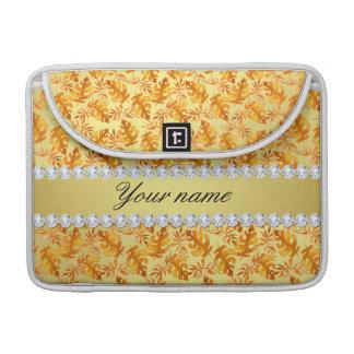 Fall Leaves Faux Gold Foil Bling Diamonds Sleeve For MacBooks
