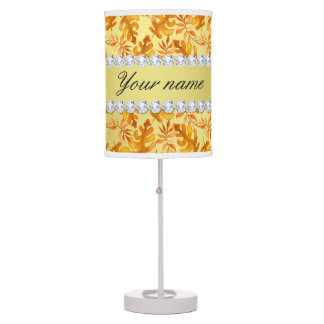 Fall Leaves Faux Gold Foil Bling Diamonds Table Lamp