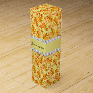 Fall Leaves Faux Gold Foil Bling Diamonds Wine Boxes