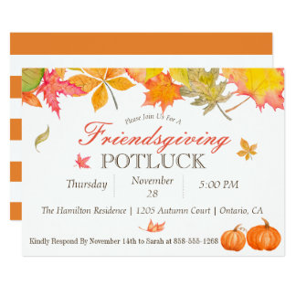 Fall Leaves Friendsgiving Potluck Invitation