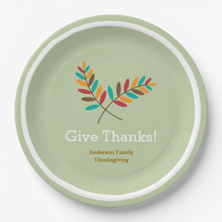 Fall Leaves Give Thanks, Personalized Thanksgiving Paper Plate