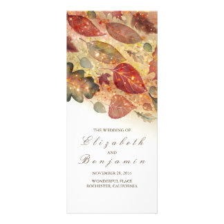 Fall Leaves Glitter Wedding Programs