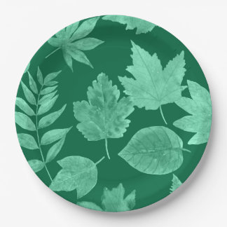 Fall leaves in emerald green, mod fall decor paper plate