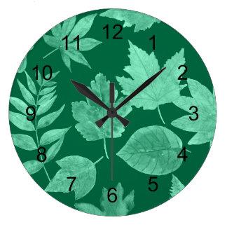 Fall leaves in emerald green, modern decor large clock