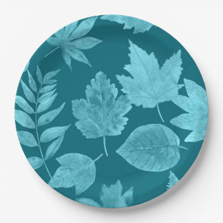 Fall leaves in peacock blue, mod fall decor paper plate