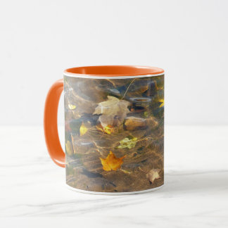 Fall Leaves in Pond Water Nature Photography Mug