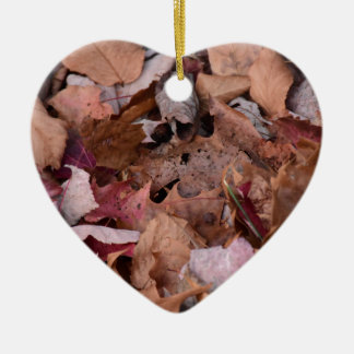Fall leaves in the Smoky Mountains Ceramic Heart Ornament
