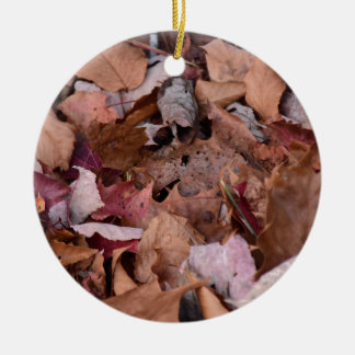 Fall leaves in the Smoky Mountains Round Ceramic Ornament