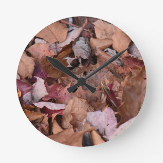 Fall leaves in the Smoky Mountains Round Clock