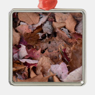Fall leaves in the Smoky Mountains Silver-Colored Square Ornament
