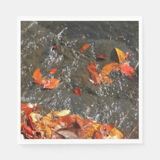 Fall Leaves in Waterfall I Autumn Photography Disposable Napkin