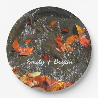 Fall Leaves in Waterfall I Autumn Photography Paper Plate