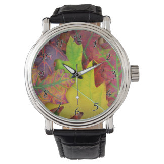 Fall Leaves in yellow, red, orange and Purple Wristwatch