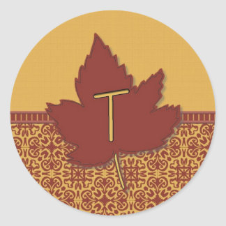 Fall Leaves Letter T Classic Round Sticker