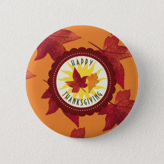 Fall Leaves Maple Thanksgiving 2 Inch Round Button